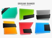 L'origami abstrait vide dénomme l'ensemble de bannières illustration de vecteur