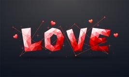L'origami aime le texte pour la célébration de jour du ` s de Valentine Photos stock