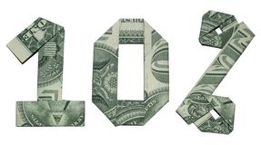 L'origami d'argent signe de vente de 10 pour cent s'est plié avec 3 vrais billets d'un dollar un d'isolement photo libre de droits