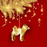 L'origami d'or poursuit comme décoration de Noël pour une branche d'arbre d'or de Noël Image stock