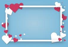 L'origami de papier de carte d'art d'amour de vecteur de jour de valentines de coeurs dénomme l'illustration créative romane de f illustration stock