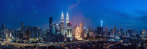 L'orizzonte alla notte, Malesia, Kuala Lumpur di Kuala Lumpur è capitale della Malesia Immagini Stock
