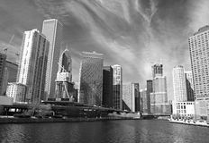 L'orizzonte del Chicago Immagini Stock