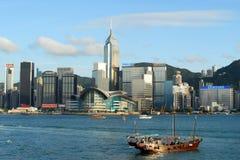 L'orizzonte dell'area di Wan Chai di Hong Kong Island Fotografie Stock Libere da Diritti