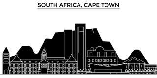 L'orizzonte della città di vettore dell'architettura del Sudafrica, Cape Town, paesaggio urbano di viaggio con i punti di riferim Immagine Stock Libera da Diritti