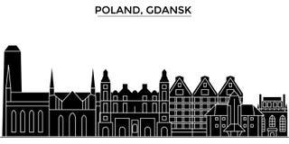 L'orizzonte della città di vettore dell'architettura della Polonia, Danzica, paesaggio urbano di viaggio con i punti di riferimen Fotografia Stock Libera da Diritti