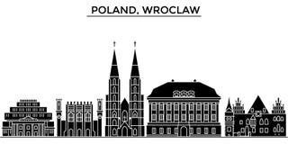 L'orizzonte della città di vettore dell'architettura della Polonia, Wroclaw, paesaggio urbano di viaggio con i punti di riferimen Immagine Stock Libera da Diritti