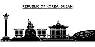 L'orizzonte della città di vettore dell'architettura della Repubblica Coreana, Busan, paesaggio urbano di viaggio con i punti di  illustrazione vettoriale