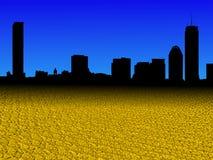 L'orizzonte di Boston con il dollaro dorato conia l'illustrazione della priorità alta royalty illustrazione gratis