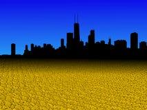 L'orizzonte di Chicago con il dollaro dorato conia l'illustrazione della priorità alta illustrazione vettoriale