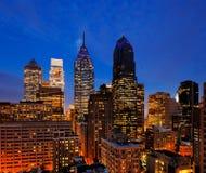 L'orizzonte di Filadelfia al crepuscolo immagine stock libera da diritti