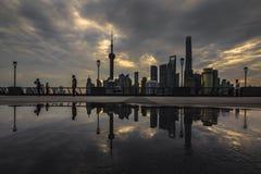 L'orizzonte di Lujiazhui di Pudong Fotografia Stock
