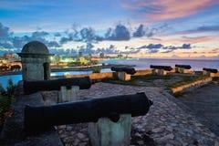 L'orizzonte e la baia di Avana estasiano preso dalla fortezza di EL Morro Fotografie Stock