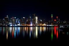 L'orizzonte famoso di New York City dalla Jersey Immagini Stock Libere da Diritti