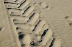 L'orma del veicolo sulla sabbia è uno sfondo naturale Immagini Stock