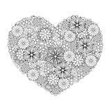 L'ornamentale etnico artistico disegnato a mano ha modellato il grande cuore in doo royalty illustrazione gratis