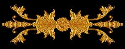 L'ornamento di oro ha placcato lo stile floreale e vittoriano d'annata Fotografia Stock