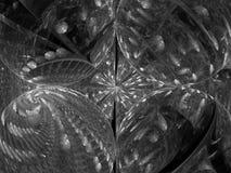 L'ornamento di turbinio dell'estratto di frattale rende in bianco e nero di superficie fantastico fotografie stock libere da diritti