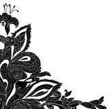 Fondo nero dell'ornamento floreale dell'annata Fotografia Stock Libera da Diritti