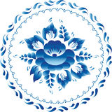 L'ornement blanc et bleu fleurit le cercle russe traditionnel de Gzhel de style illustration stock