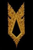 L'ornement de l'or a plaqué le vintage floral, style thaïlandais d'art Photographie stock libre de droits