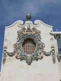 L'ornement extérieur coloré de terre cuite sur la construction historique de restaurants de Childs Photographie stock libre de droits