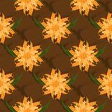 L'ornement floral Configuration sans joint Les fleurs et les feuilles abstraites sur le fond engrènent Dessiné une brosse en lamb Image libre de droits