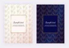 L'oro è aumentato linee geometriche sulla struttura di marmo bianca Progettazione minimalista Fondo moderno per l'invito, carta,  illustrazione vettoriale