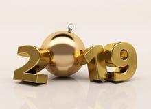 L'oro 3D lucido del nuovo anno calcola 2019 con le decorazioni di Natale royalty illustrazione gratis