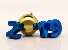 L'oro 3D lucido del nuovo anno calcola 2019 con le decorazioni di Natale illustrazione di stock