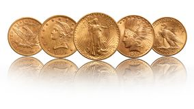 L'oro degli Stati Uniti conia la testa indiana della doppia aquila di venti dollari, isolata su fondo bianco immagini stock libere da diritti