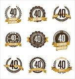L'oro di anniversario Badges i quarantesimi anni che celebrano Immagini Stock Libere da Diritti