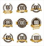 L'oro di anniversario Badges i 100th anni che celebrano Fotografia Stock Libera da Diritti