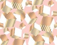 L'oro ed impallidisce i cubi rosa nel caos dinamico royalty illustrazione gratis
