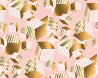 L'oro ed impallidisce i cubi rosa nel caos dinamico illustrazione vettoriale