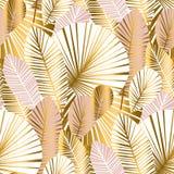 L'oro ed impallidisce il modello senza cuciture delle foglie astratte rosa illustrazione di stock