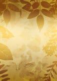 L'oro Grunge lascia la siluetta illustrazione di stock