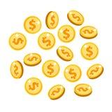 L'oro ha isolato le monete messe nelle posizioni differenti fotografie stock