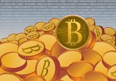 L'oro ha morso il concetto fisico dei soldi di valuta cripto della moneta sulla rete Immagine Stock