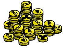 L'oro Litecoin, ondulazione, Bitcoin, cryptocurrency di Etherum conia il mucchio nello stile del fumetto Immagini Stock Libere da Diritti