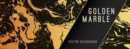 L'oro marmorizza il fondo di vettore con l'insegna illustrazione vettoriale