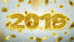 L'oro numera 2019 Modello dell'insegna della cartolina d'auguri del buon anno immagine stock libera da diritti