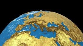 L'oro ruota il pianeta Terra isolato su fondo nero Filatura di un globo terrestre 3d senza soluzione di continuità illustrazione vettoriale