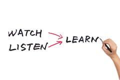 L'orologio ascolta impara Immagine Stock