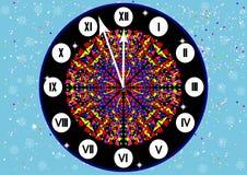 L'orologio con i numeri romani sulla notte di Natale Immagini Stock Libere da Diritti