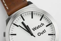 L'orologio con testo guarda fuori Immagine Stock Libera da Diritti