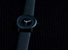 L'orologio degli uomini di lusso fatto di ceramica alta tecnologia nera Fotografie Stock Libere da Diritti
