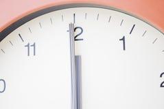 L'orologio direzione la mezzanotte Fotografie Stock Libere da Diritti