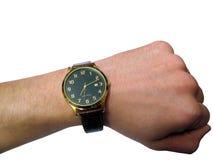 L'orologio a disposizione ha isolato Fotografia Stock