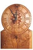 L'orologio ha intagliato su legno Fotografie Stock Libere da Diritti